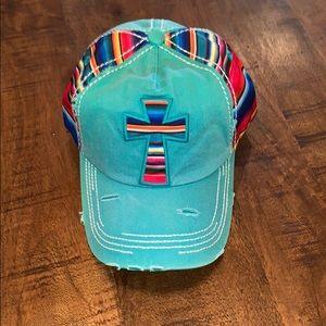 Naw at Serape Cross Turquoise Ball Cap